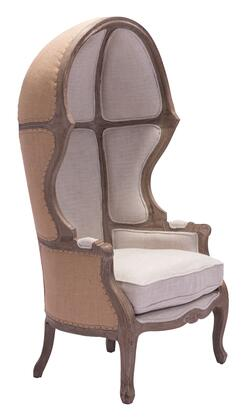 "Zuo 9838 Ellis 63"" Occasional Chair with Nail Tacks, Carved Oak Wood Frame, Faux Leather and Fabric Upholstery"