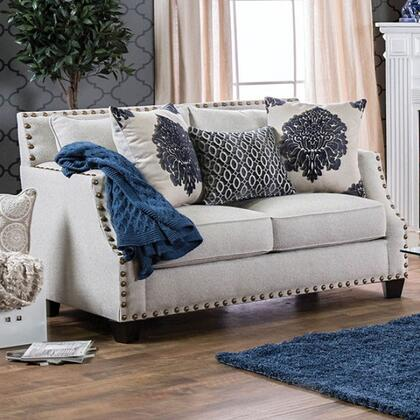 "Furniture of America Cornelia Collection SM307X-LV 61"" Love Seat with Sloped Style Arms, Nailhead Trim and Accent Pillows in"