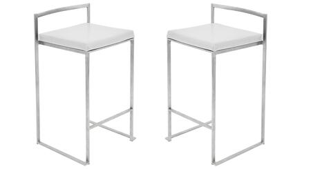 "LumiSource Fuji CS-FUJI Set of (2) 31"" Stackable Counter Stool with Stainless Steel Legs, Leatherette Upholstery and Footrest in"