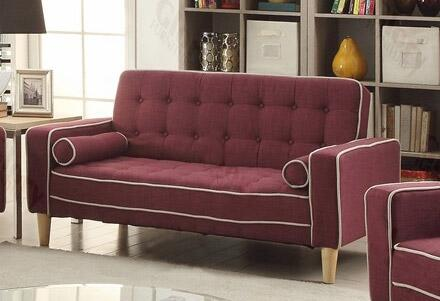 """Glory Furniture G83X-L 60"""" Fabric Convertible Loveseat Bed with Button Tufted Detailing, Removable Arms and Backs and Tapered Legs in"""