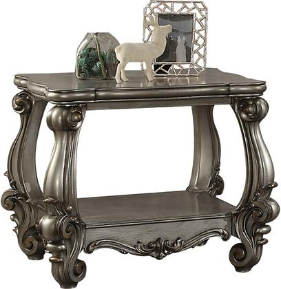 """Acme Furniture Versailles Collection 31"""" End Table with Scrolled Legs, Bottom Shelf, Square Shape, Scrolled Apron, Poly Resin Decor, Aspen and Poplar Wood Construction"""