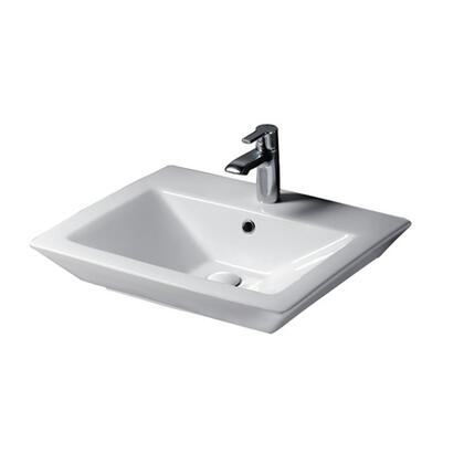 "Barclay B/3-36WH Opulence Basin Only, with Rectangular Interior, Pre-drilled Faucet Holes, Overflow, 4.5"" Basin Depth, and Fine Fireclay Construction, in White"