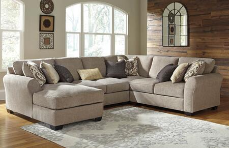 Benchcraft Pantomine 39102CHALWL 4-Piece Sectional Sofa with X Arm Facing Chaise, Armless Loveseat, Wedge and X Arm Facing Loveseat in Driftwood Color