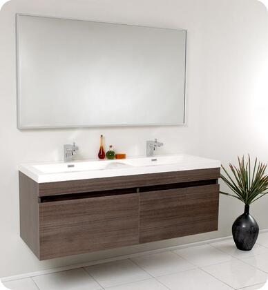 "Fresca Largo Collection FVN8040 57"" Modern Bathroom Vanity with Wavy Double Sinks, Nested Drawer Storage System and Integrated Acrylic Countertop and Sink in"