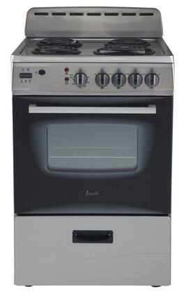 "Avanti ER24P3SG 24"" Electric Freestanding Range with Coil Element Cooktop, Storage in Stainless Steel"