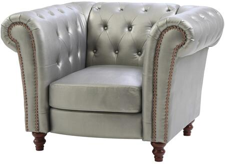 Glory Furniture G754C Antique Silver Faux Leather Armchair with Wood Frame
