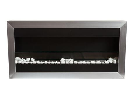 Bio-Blaze Square I Collection BBSQL1 Large Wall Mounted Ethanol Fireplace in Stainless Steel