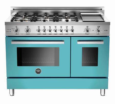 "Bertazzoni Professional PRO486GDFST 48"" Dual Fuel Range with 6 Sealed Burners, 18000 BTUs Dual-Ring Power Burner, Self-Cleaning Electric Convection Oven and Telescopic glide shelf: Natural Gas Burners"
