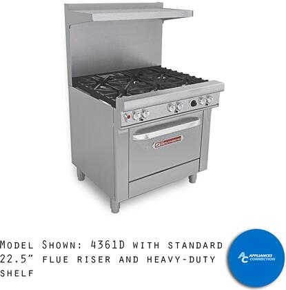 "Southbend 4361 Ultimate Range Series 36"" Gas Range with Six Standard Non-Clog Burners and Standard Cast Iron Grates, Up to 198000 BTUs (NG)/144000 BTUs (LP)"