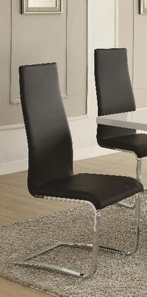 Coaster 100515BLK Modern Dining Series Contemporary Leather Metal Frame Dining Room Chair