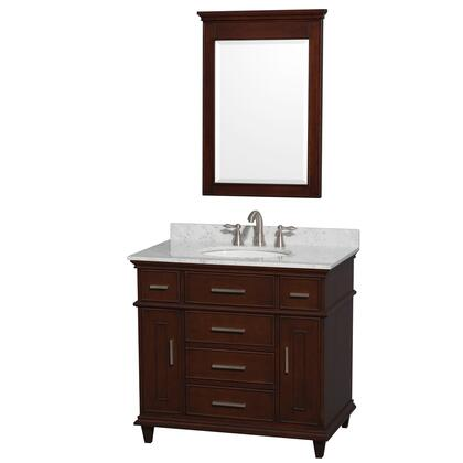 "Wyndham Collection WCV171736S Berkeley 36"" Single Sink Vanity with White Porcelain Oval Undermount Sink, 2 Doors, 5 Drawers, X Marble Top and in x"