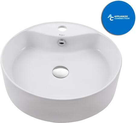 Kraus KCV142X White Ceramic Series Round Ceramic Vessel Sink with Included Pop-up Drain