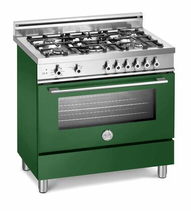 "Bertazzoni X365GGVVELP 36"" Professional Series Liquid Propane Freestanding Range with Sealed Burner Cooktop, 3.6 cu. ft. Primary Oven Capacity, Storage in Green"
