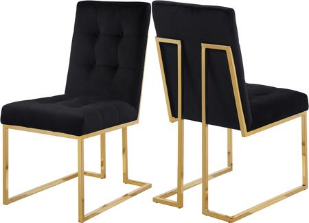 Meridian Pierre Collection 714C-X Dining Chair with Velvet, Tufted Upholstery, and Gold Plated Stainless Steel Base