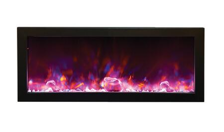 """Amantii BI-6 Panorama """" Wide Full Frame Zero Clearance Built-In Fireplace with 6"""" Deep Full View Framing, Multi-Color Flame, Remote Control and Hard Wire Ready in Black Steel Finish"""