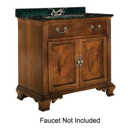 "Kaco Dorchester Collection 626-3600 36"" Sink Vanity with Fluted Pilasters, 2 Doors and Water Resistant Finish in Brown Cherry with Granite Top"