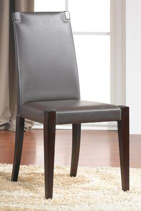 J and M Furniture 1767 Colibri Dining Room Chair with Old World Solid Birch Wood Construction, Chocolate Colored Leather Upholstery, and Dark Walnut Finish