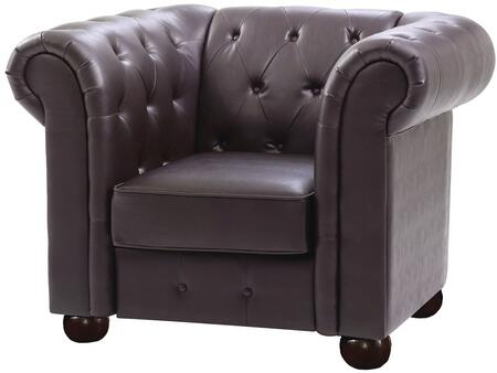 Glory Furniture G494C Faux Leather Armchair with Wood Frame in Dark Brown