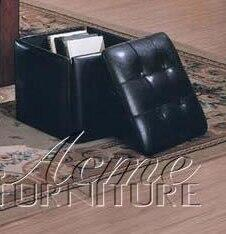 Acme Furniture 04397 Ashville Series Contemporary Vinyl Wood Frame Ottoman