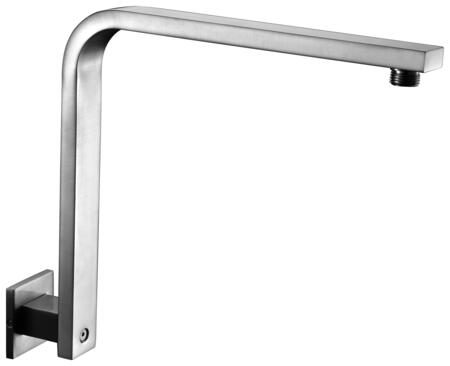 "Alfi AB12GSW-X 13"" Square Raised Wall Mounted Shower Arm with Brass Extended Length, Standard Threading Dimensions and Extra-Long Curved Gooseneck Arm in"