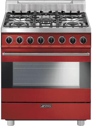 """Smeg C30GG 30"""" Pro Style Freestanding Gas Range With 5 Sealed Burners, 3.55 Cu. Ft Capacity, 3 Cooking Modes, Gas Convection Mode, Broil Mode and Automatic Electronic Ignition, in"""