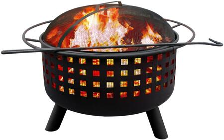"Landmann 2631X City Lights Memphis Open Weave Firepit with 23.5"" Large Fire Bowl, Cooking Grate, Spark Screen, Decorative Cutouts and Steel Construction in"