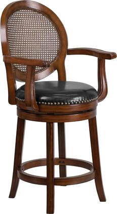 Flash Furniture Stool with Curved Arms, Black LeatherSoft Upholstery, Nailhead Trimmed Swivel Seat, Woven Rattan Back and Wood Construction in Espresso Finish