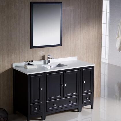 "Fresca Oxford Collection FVN20123012 54"" Traditional Bathroom Vanity with 4 Soft Close Doors, 3 Soft Close Dovetail Drawers and Tapered Legs in"