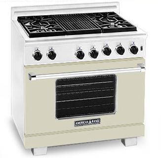 American Range ARR364GRBG Heritage Classic Series Natural Gas Freestanding Range with Sealed Burner Cooktop, 5.6 cu. ft. Primary Oven Capacity, in Beige