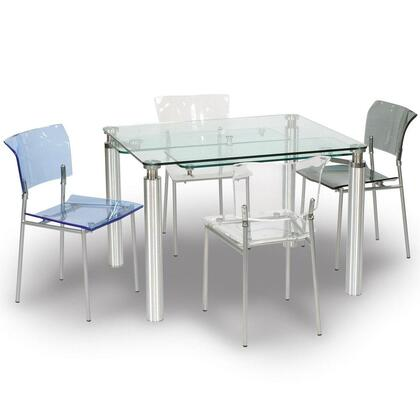 Chintaly 9067DT5PIECESETCLEAR Violette Dining Room Sets