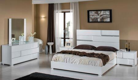 VIG Furniture VGACANCONASETWHT Modrest Ancona Italian Bedroom Set includes Bed, 2 Nightstands, Dresser, Mirror and Polished Metal Legs in White Color