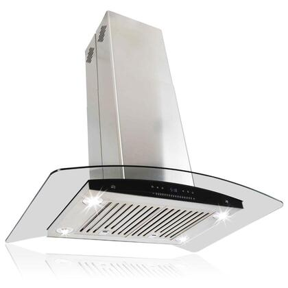 "AKDY AIR61C30 30"" Island Mount Range Hood with 870 CFM, 55 dB, Innovative Touch, 4 Fan Speed, Delayed Auto Shut Off, Stainless Steel Baffle Filter and X: Stainless Steel"