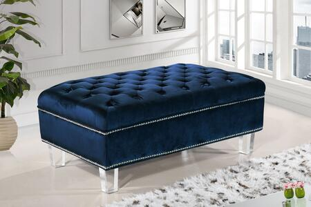"""Meridian Lucas Collection 609X-OTT 38"""" Ottoman with Velvet Upholstery, Silver Nail Heads, Tufted Cushions and Contemporary Style in"""