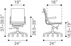 "Zuo 215214 19""  Office Chair"