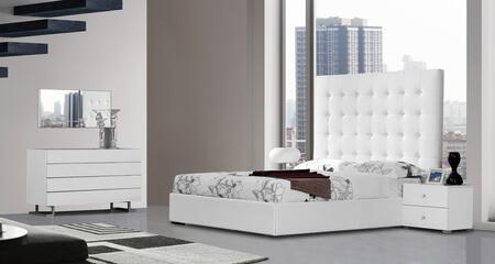 VIG Furniture VGKCLYRICAWHT Modrest Lyrica - White Leather Tall Headboard Bed