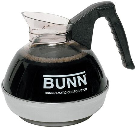 Bunn-O-Matic 06100010 64 oz Easy Pour Decanter with Black Handle and High Quality Stainless Steel Base