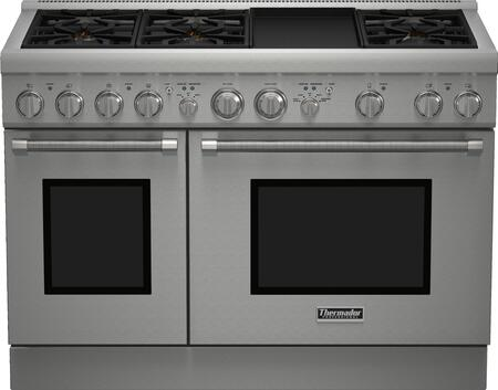 "Thermador PRx486GDH 48"" Star K Certified PRO Harmony Professional Series Slide-In Gas Range With 6 Patented Star Burners, 6.7 cu. ft. Total Oven Capacity, QuickClean Base, ExtraLow Simmer Setting And Griddle, in Stainless Steel"