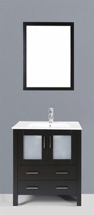 """Bosconi AB130UXX XX"""" Single Vanity with Ceramic Counter Top, Undermount Ceramic Basin Sink, Matching Mirror, X Soft Closing Drawers, 2 Doors, and Silver Hardware Finish in Espresso Finish"""