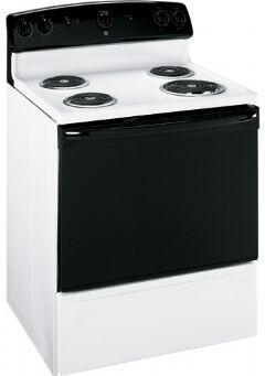 GE JBS03BMWH  Electric Freestanding Range with Coil Element Cooktop, 5.0 cu. ft. Primary Oven Capacity, Storage in White