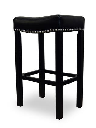 "Armen Living LCMBS013BAX Tudor 26"" Stool with Chrome Nails and Bonded Brown Antique Leather in"
