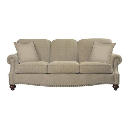"Bassett Furniture Club Room Collection 3991-62FC/FC118-x 88"" Sofa with Fabric Upholstery, Antique Brass Nail Head Trim and Traditional Style in"