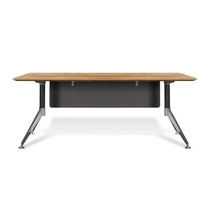 "Unique Furniture 400 Collection 71"" Computer Desk with Steel Base, Wire Management, Non Scratch Surface, Commercial Grade and High Pressure Melamine Material in"