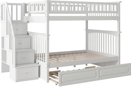Atlantic Furniture AB5583 Columbia Staircase Bunk Bed Full Over Full With Raised Panel Trundle Bed