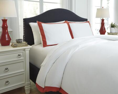 Signature Design by Ashley Ransik Pike Q7330 3 PC Queen Size Duvet Cover Set includes 1 Duvet Cover and 2 Standard Shams with Solid Flange Design, 300 Thread Count and Cotton Material in Color