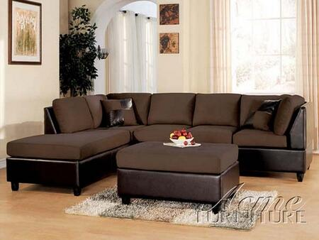 Acme Furniture 10110 Lisbon Series Sectional Chocolate Sofa