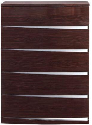 """Global Furniture USA Aurora Collection AURORA-CHEST 35"""" Chest with 5 Drawers, Clean Line Design, Accent Slits and Glossy Finish in"""