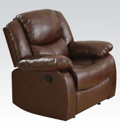 Acme Furniture 50R Fullerton Motion Recliner with Oversized Cozy Seating, Hand Latch Recliner and Bonded Leather Match Upholstery in
