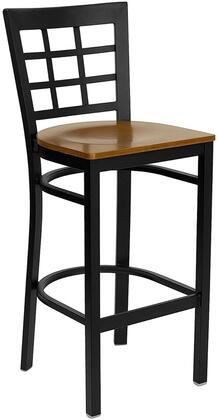 "Flash Furniture HERCULES Series XU-DG6R7BWIN-BAR-XXW-GG 28.75"" Heavy Duty Window Back Metal Restaurant Bar Stool with Wood Seat, Commercial Design, Foot Rest Rung, and Plastic Floor Glides"