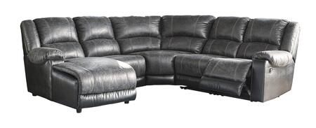 Signature Design by Ashley Nantahala 503015PCSEC 5PC Sectional Sofa with X Chaise, Armless Chair, Wedge, Armless Recliner and X Zero Wall Recliner in Slate