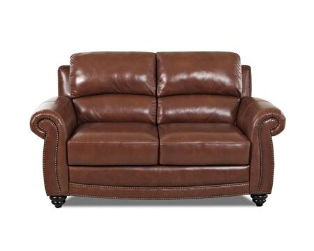 Klaussner ROMANOLS Romano Series Leather Stationary with Wood Frame Loveseat